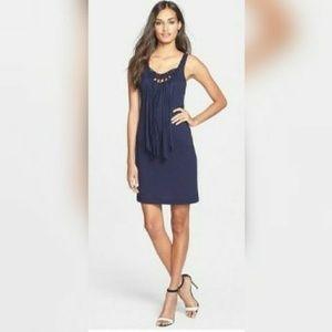 Trina Turk new navy blue fringe dress